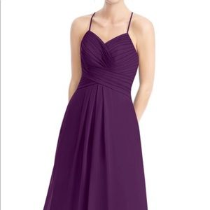 Azazie Cecilia Floor Length Chiffon Dress in Grape